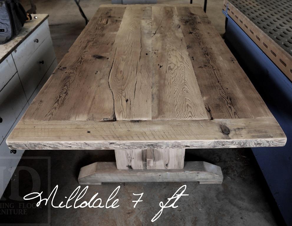 Details: 84u2033 Trestle Table U2013 42u2033 Inches Wide U2013 Premium Epoxy Resin +  Polyurethane Clearcoat Finish U2013 Reclaimed Hemlock Threshing Floor  Construction U2013 7 Ft ...