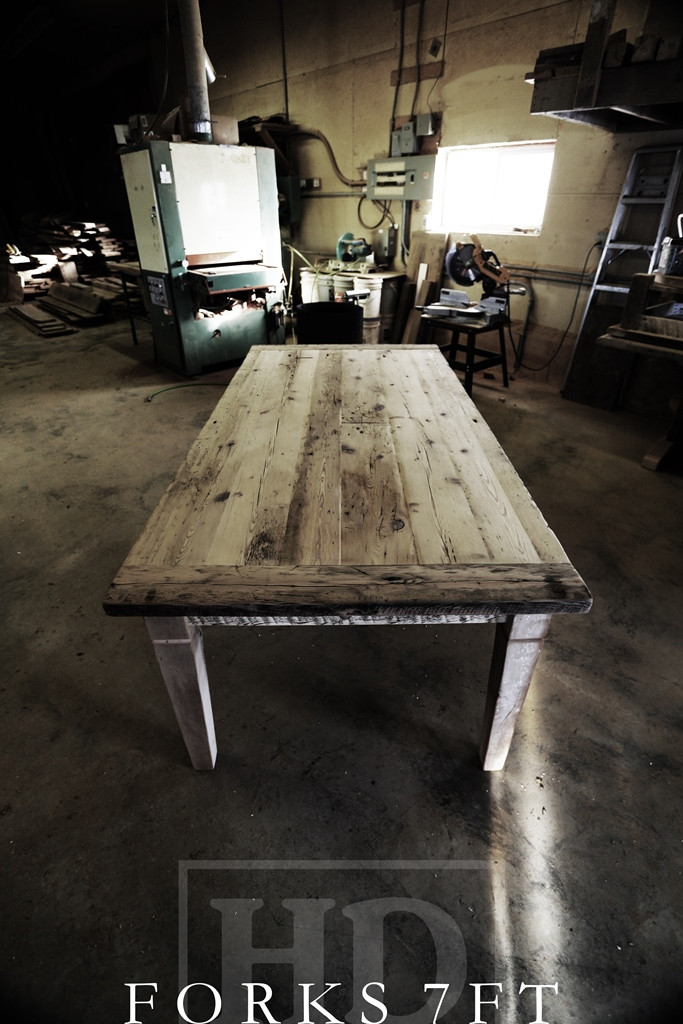 7 Ft Mississauga Reclaimed Wood Harvest Table With Bench