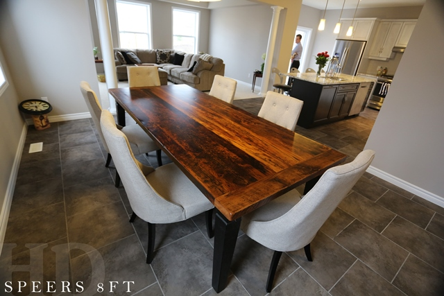Reclaimed wood harvest table in kitchener ontario home