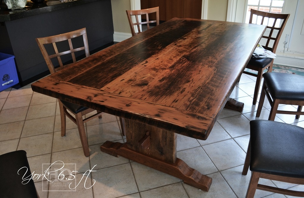 Toronto Reclaimed Wood Table Trestle Epoxy Resin Polyurethane Hemlock Barnwood