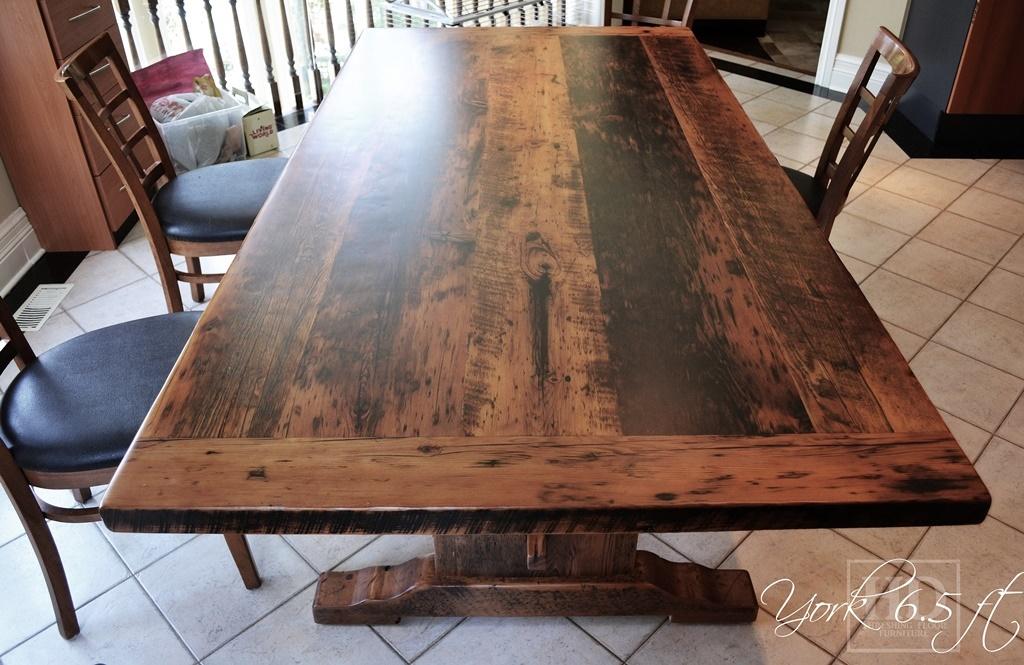 Toronto Reclaimed Wood Table Trestle Epoxy Resin Polyurethane Hemlock Barnwood