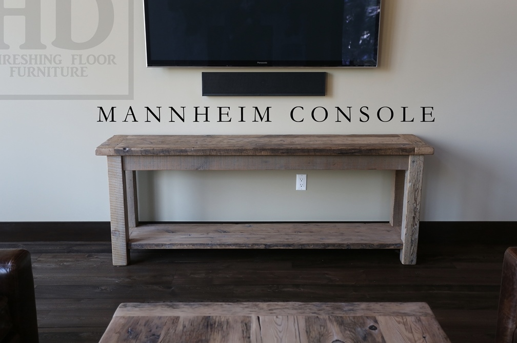 Details 80? Console/Hall/Sofa Table – 18? deep – 34? height – Greytone  Treatment to Preserve Tones of Unfinished – Bottom 1? reclaimed grainery  board shelf ...