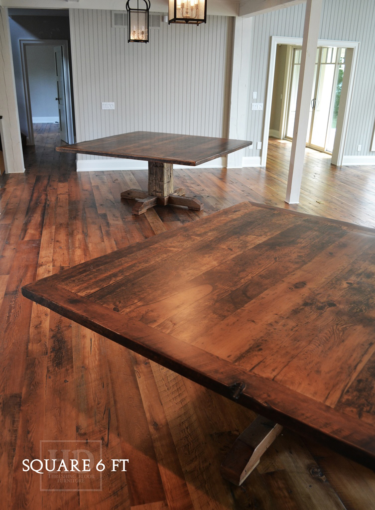 Reclaimed Wood Pedestal Tables Toronto Ontario Resin Farmhouse Gerald