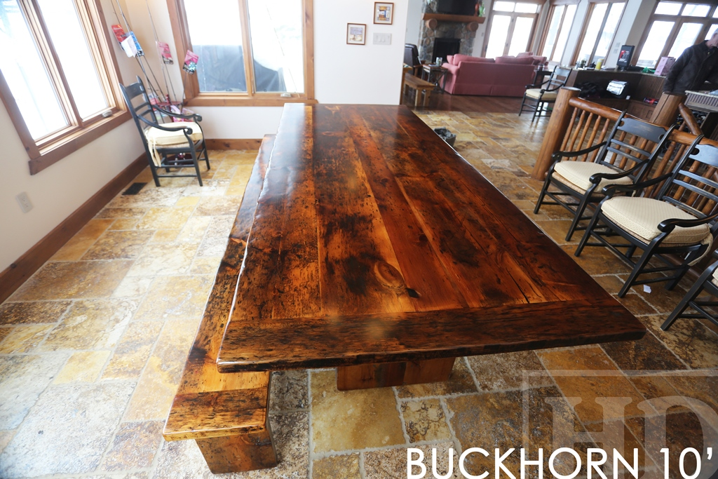 Specs 10? Reclaimed Wood Table – 48? wide – 3? barnwood joist post base –  Reclaimed Pine Threshing Floor Construction – Premium epoxy with  polyurethane ...