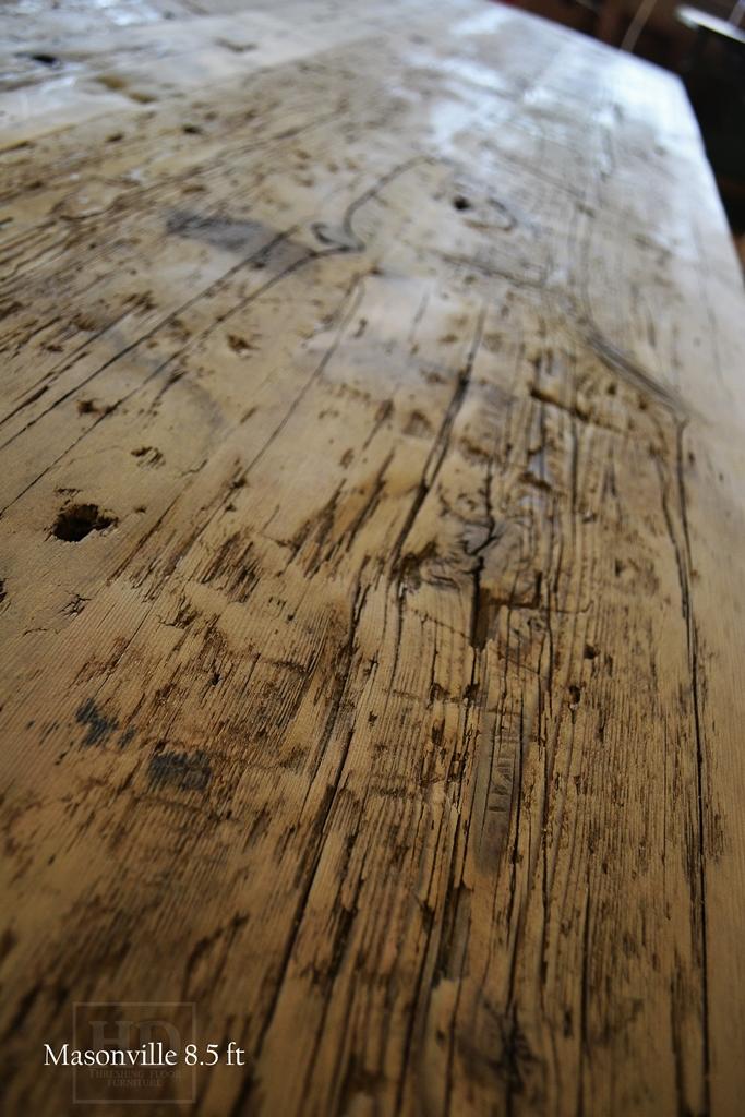 Specs: 8 1/2 Ft Harvest Tables U2013 42u2033 Wide U2013 Tapered With A Notch Legs U2013  Drawer U2013 Reclaimed Hemlock Threshing Floor Solid 2u2033 Top U2013 Premium Epoxy  Resin/ Satin ...
