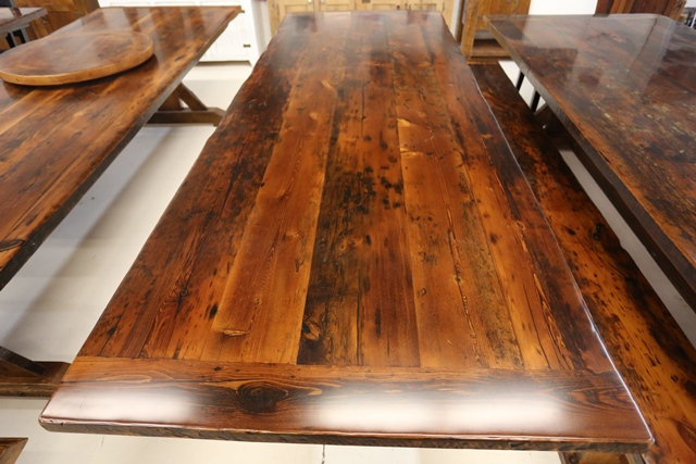Reclaimed wood tables ontario epoxy hd threshing pst by for Recycled wood flooring for sale