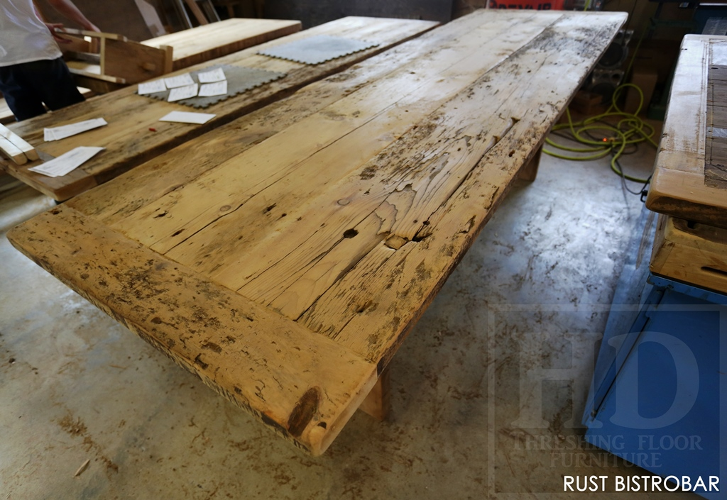 Reclaimed wood tops for burlington ontario restaurant for Interesting table tops