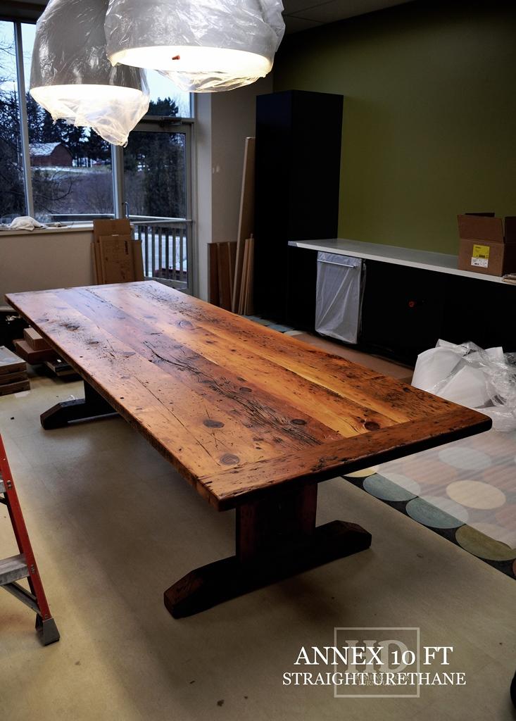boardroom table Simcoe Ontario, reclaimed wood tables Ontario, conference tables Simcoe, conference table, recycled, Gerald Reinink, HD Threshing Floor Furniture, live edge