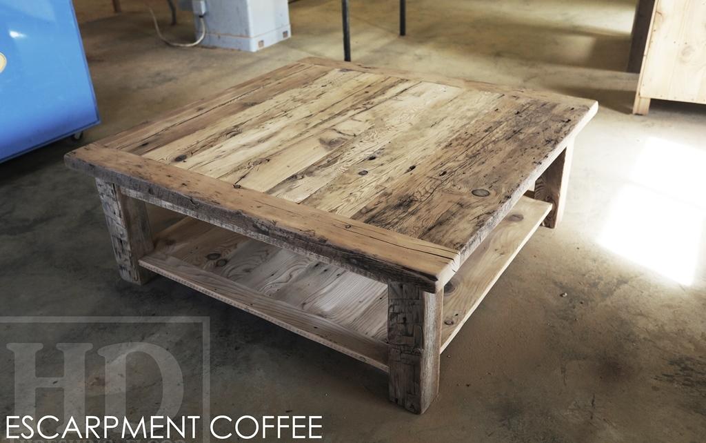 Lovely Specs: 48u2033 X 48u2033 Cottage Coffee Table U2013 Straight 4u2033 X 4u2033 Windbrace Beam  Legs U2013 Bottom 1u2033 Grainery Board Shelf U2013 Reclaimed Hemlock Threshing Floor  Barnwood ...