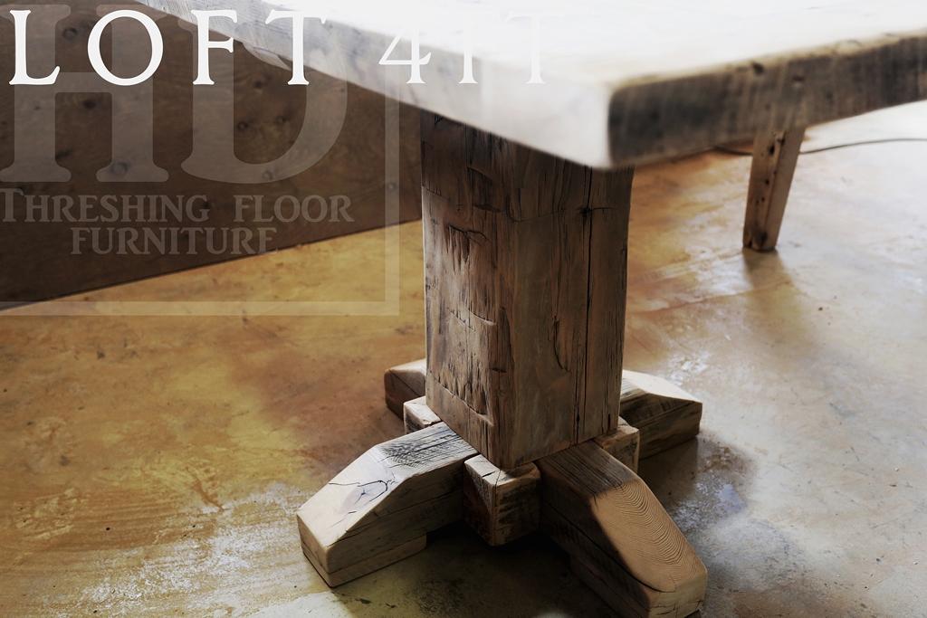 Details 48? Reclaimed Wood Condo Table Toronto – 32? wide – Reclaimed  Hand-Hewn Beam Pedestal Base – Reclaimed Hemlock Threshing Floor Top –  Premium ...