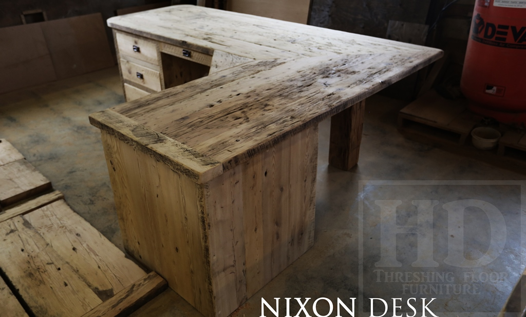 Custom L Shaped Reclaimed Wood Desk In Toronto Office Blog