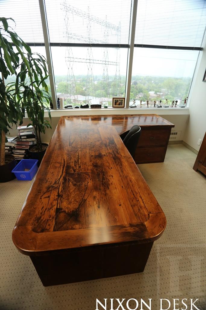 Specs: Custom L Shaped Reclaimed Wood Desk U2013 3 Drawers On Left Side / 2  Large File Drawers On Right Side U2013 Centre Drawer U2013 Keyboard Tray U2013 Lee  Valley ...