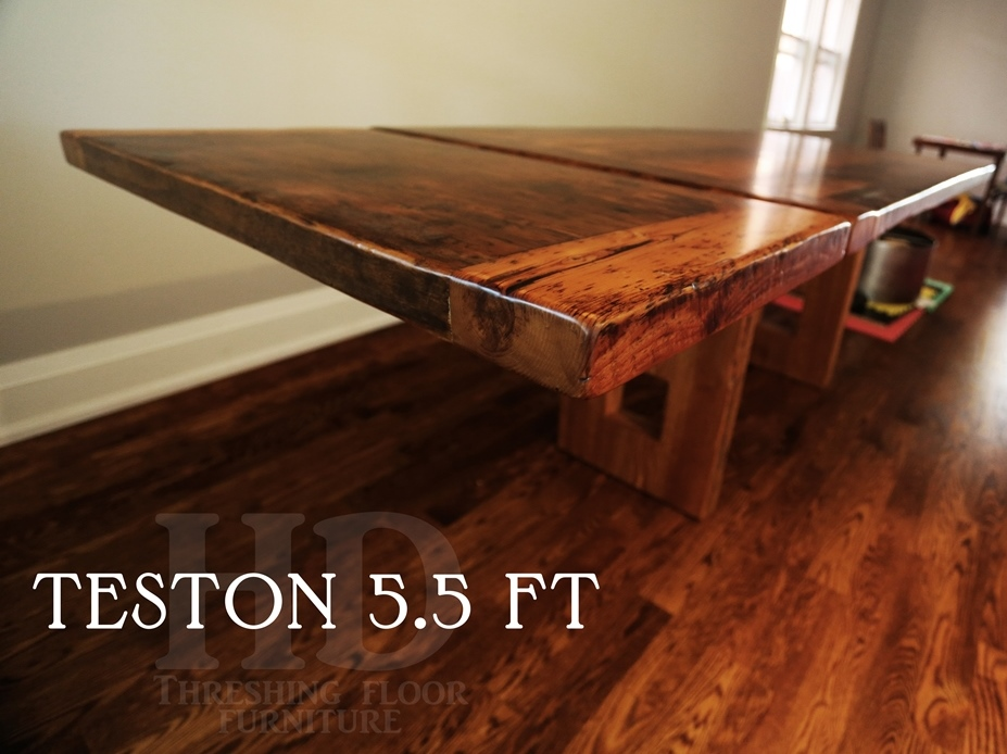 Details  5 5 ft Plank Table   36  wide   3  Joist Material Posts    Reclaimed Hemlock Threshing Floor Construction   Cavity in End   Premium. Blog   HD Threshing   Reclaimed Wood Furniture