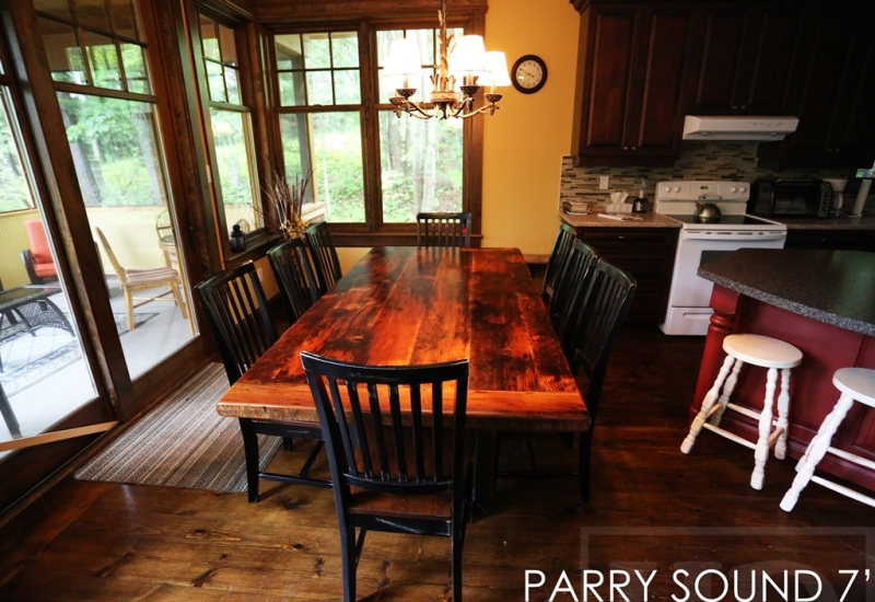 reclaimed wood cottage table, cottage life, reclaimed wood tables Ontario, Parry Sound, wormy maple, barnwood, farmhouse, country table, modern farmhouse, HD Threshing Floor Furniture, Gerald Reinink