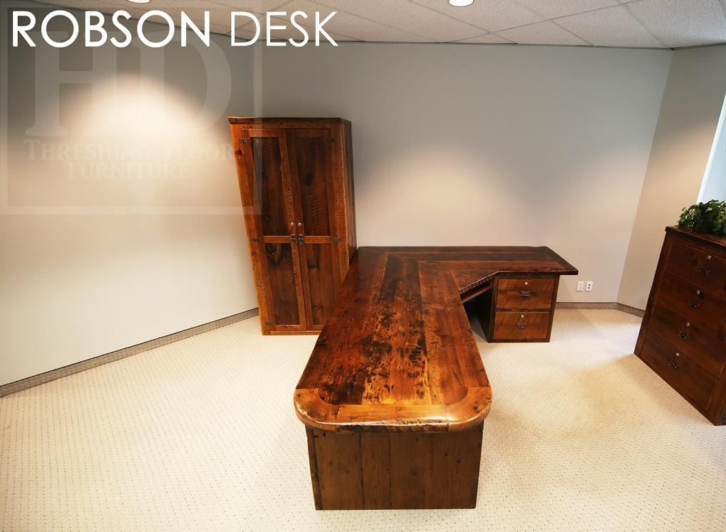 solid wood desks Ontario, reclaimed wood furniture Ontario, HD Threshing Floor Furniture, Reinink, epoxy, modern farmhouse desk, cottage desk, rustic desk set