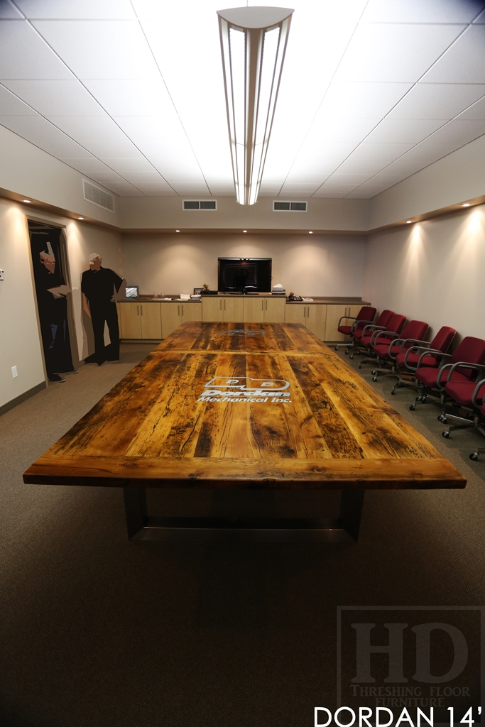 Custom Reclaimed Wood Boardroom Table With Epoxy Finish For New - 14 foot conference room table