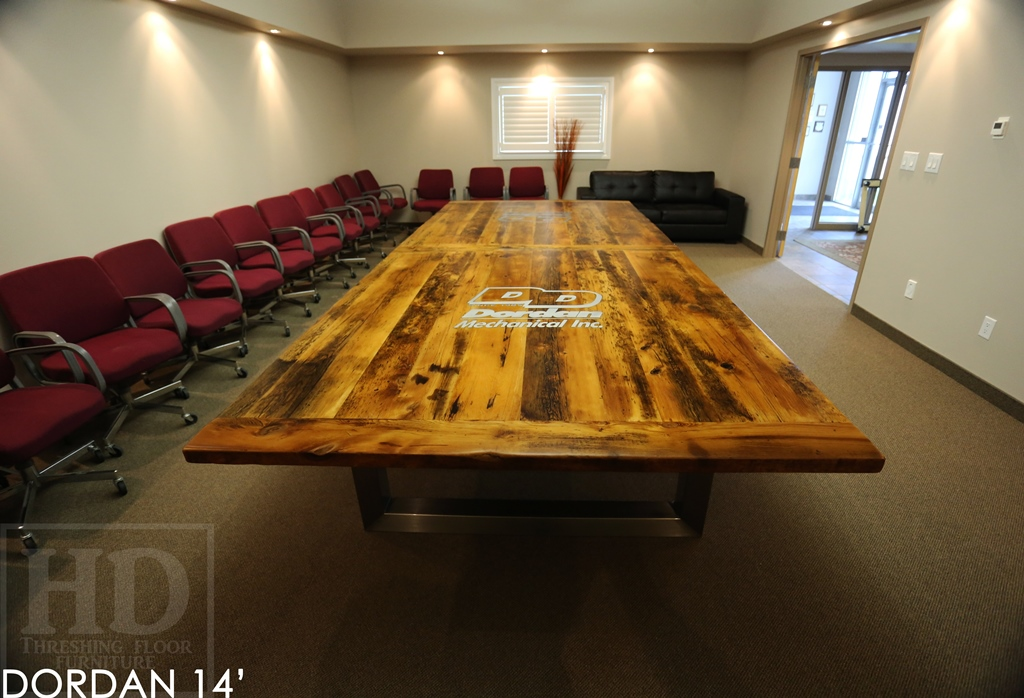 Custom Reclaimed Wood Boardroom Table With Epoxy Finish