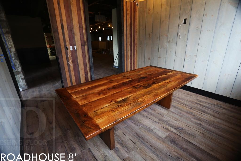 Custom reclaimed wood restaurant table in kitchener