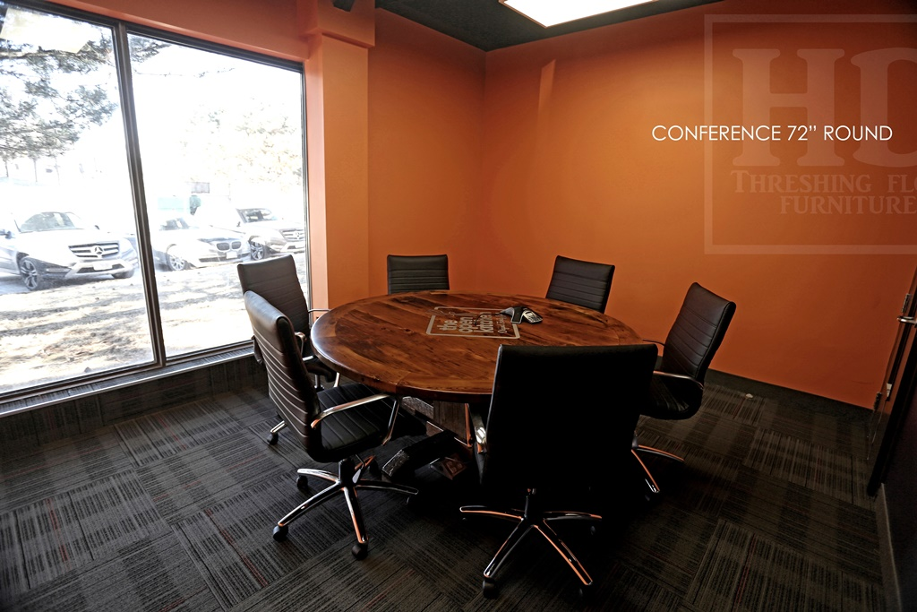 Superieur Round Conference Room Table, Boardroom Table, Reclaimed Wood Table  Mississauga Ontario, Reclaimed Wood