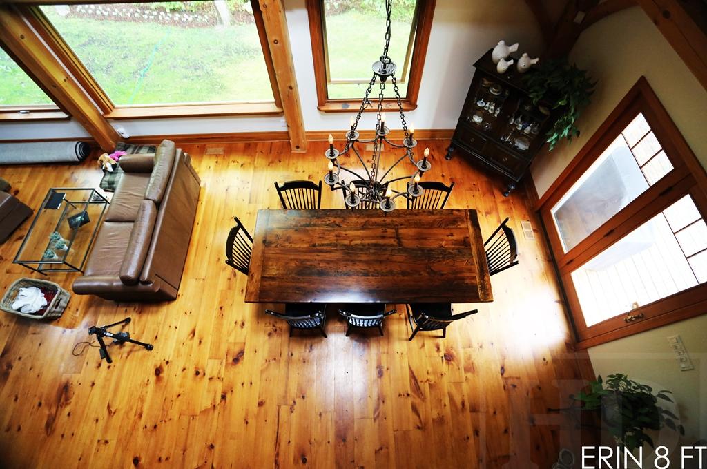 cottage table Erin Ontario, reclaimed wood table Ontario, mennonite furniture, amish furniture, epoxy, HD Threshing, HD Threshing Floor Furniture, wormy maple chairs, threshing floor furniture, threshing floor table, rustic table
