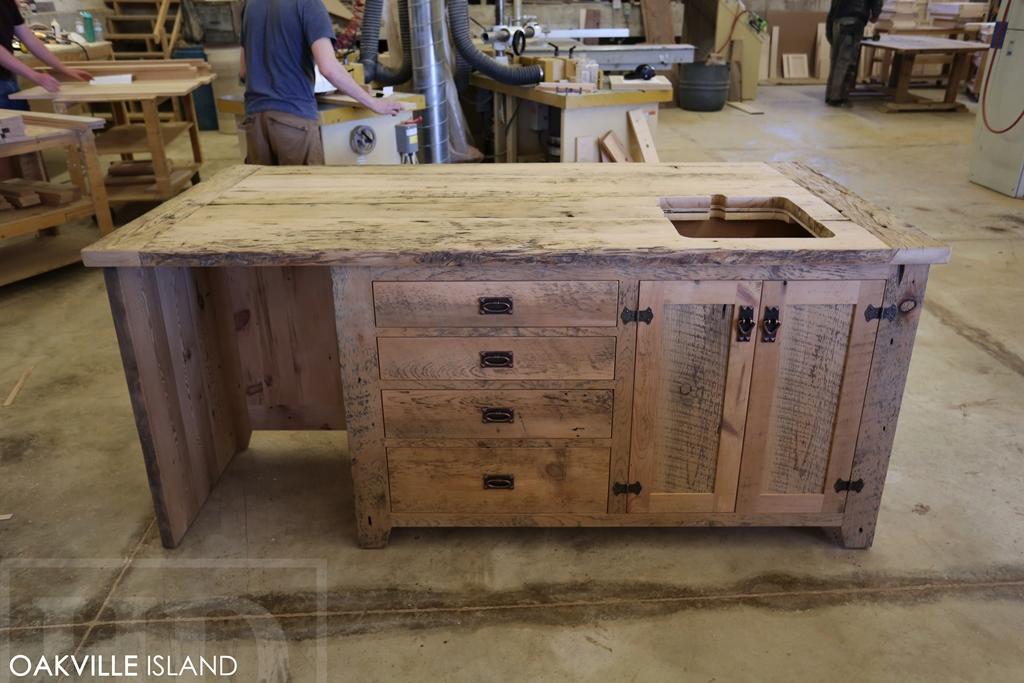 reclaimed wood island, office island, reclaimed wood furniture, Lee Valley Hardware. reclaimed wood island Oakville Ontario