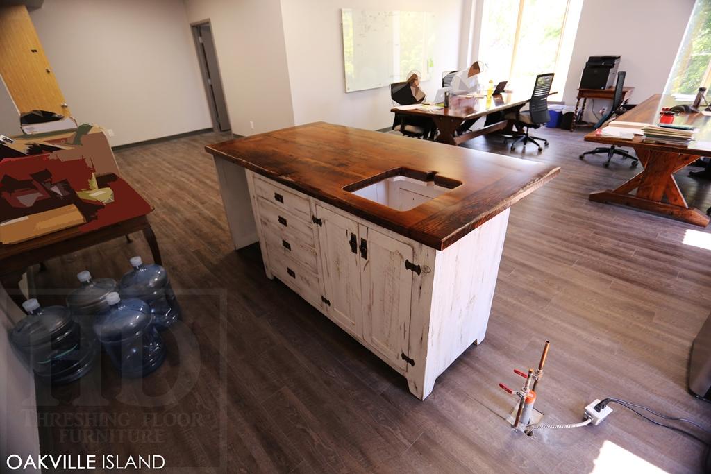 reclaimed wood island, office island, reclaimed wood furniture, Lee Valley Hardware. reclaimed wood island Oakville Ontario, HD Threshing Floor Furniture, HD Threshing, Gerald Reinink