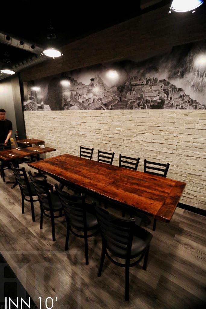Reclaimed wood restaurant table in toronto establishment