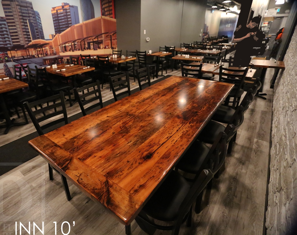 Reclaimed wood restaurant table in toronto establishment