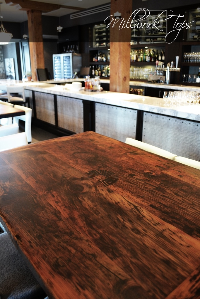 Epoxy finished restaurant table tops made from ontario