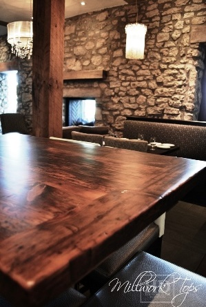 restaurant tables Ontario, restaurant tops, reclaimed wood restaurant tables Ontario, HD Threshing, HD Threshing Floor Furniture, barnwood, hemlock, epoxy