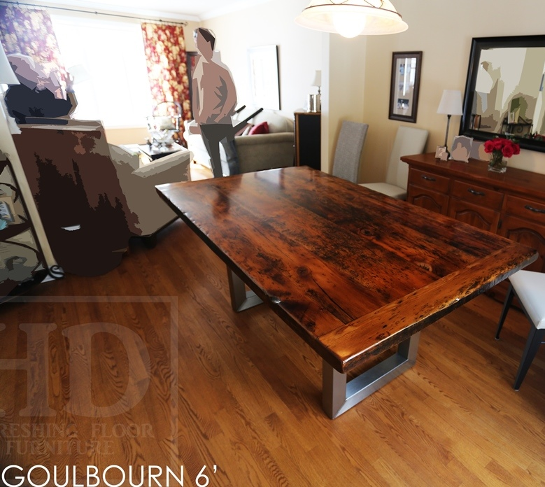 reclaimed wood metal base table, Sttitsville, Ontario, epoxy, resin, farmhouse table, rustic furniture, rustic table, mennonite furniture, mennonite table, amish furniture, solid wood table, metal base table, recycled wood table, HD Threshing, HD Threshing Floor Furniture