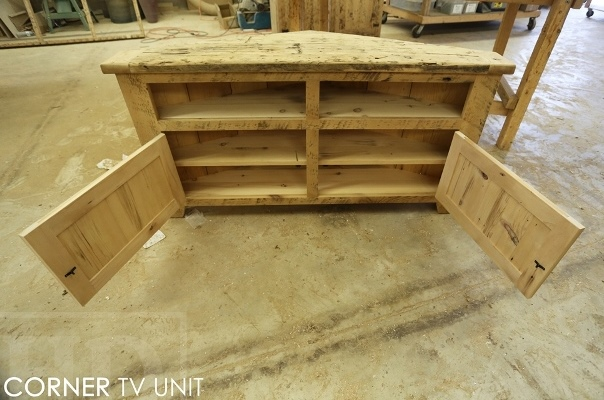 reclaimed wood corner cabinet, reclaimed wood furniture Ontario, rustic entertainment unit, lee valley hardware, HD Threshing, HD Threshing Floor Furniture, mennonite furniture Ontario, rustic cabinet, farmhouse style, country style, recycled wood furniture