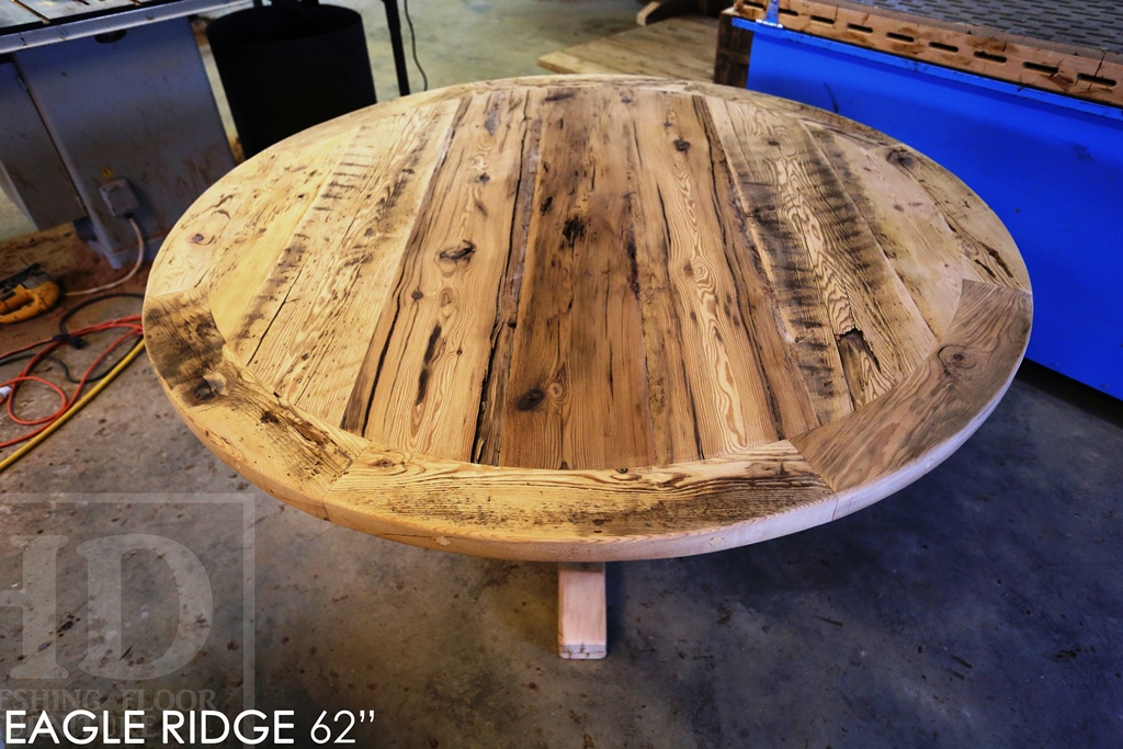 reclaimed wood furniture Georgetown Ontario, rustic furniture Canada, Mennonite Furniture, epoxy, threshing floor table, HD Threshing, reclaimed wood tables Ontario, round table, solid wood furniture, custom round table