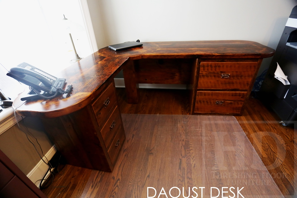 reclaimed wood furniture Canada, rustic desk, reclaimed wood office furniture, Gerald Reinink, HD Threshing, HD Threshing Floor Furniture, epoxy, mennonite furniture, lee valley hardware, lee valley, Ontario reclaimed wood furniture