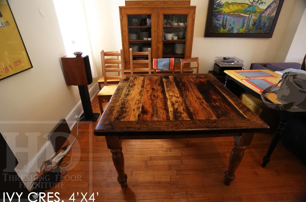 harvest tables Ontario, reclaimed wood table, custom square table, Ottawa, Ontario, epoxy, resin, recycled wood harvest table, solid wood furniture, mennonite furniture