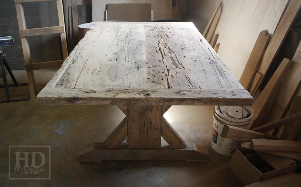 reclaimed wood tables Ontario, Cambridge Mennonite Furniture, epoxy finish, sawbuck table, rustic furniture Ontario, reclaimed wood furniture, solid wood furniture Ontario
