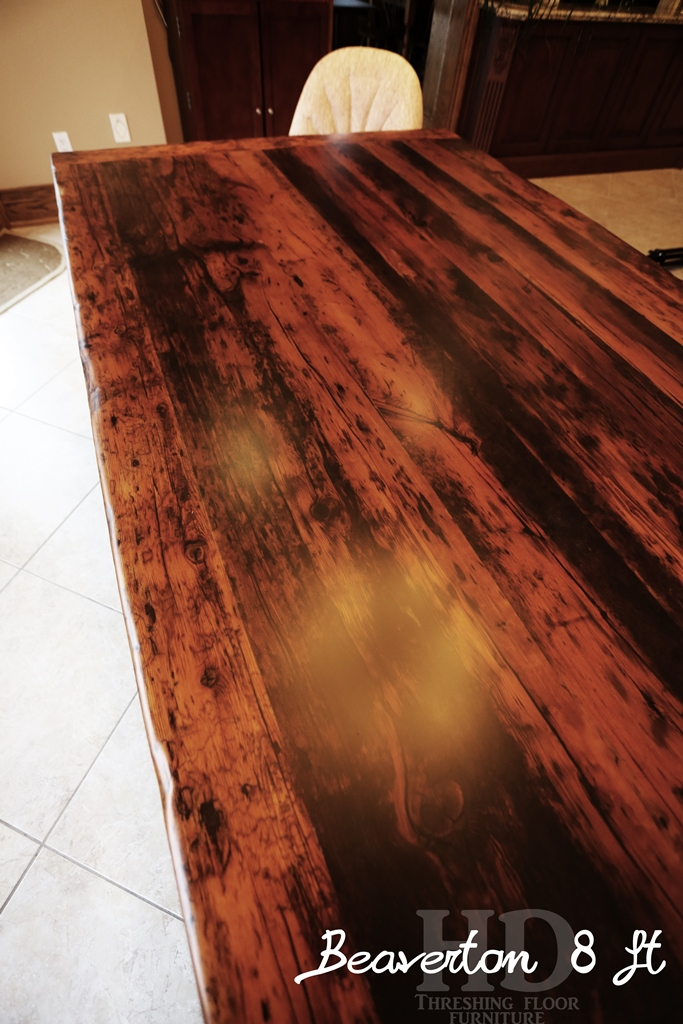 reclaimed wood tables Ontario, Oakville, HD Threshing Floor Furniture, Gerald Reinink, threshing floor table, solid wood furniture, Mennonite Furniture, lazy susan, epoxy finish, custom furniture canada, rustic furniture ontario