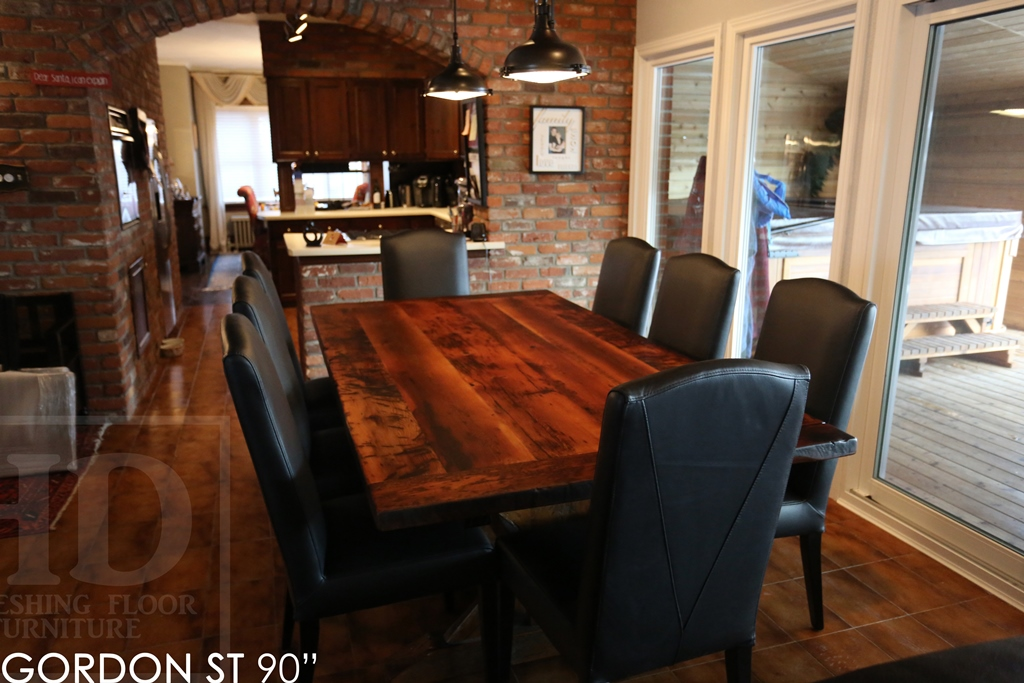 Reclaimed Wood Sawbuck Table Leather Parsons Chairs Hemlock Cottage