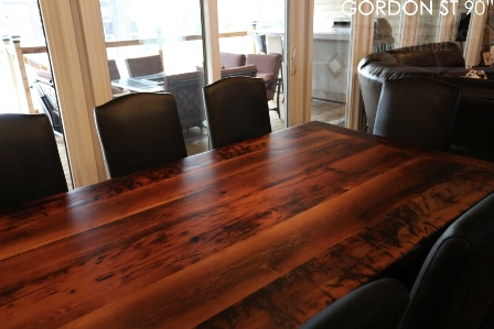 reclaimed wood sawbuck table, leather parsons chairs, reclaimed hemlock table, cottage table, farmhouse table, solid wood table, mennonite furniture guelph, ontario, resin, recycled wood table, rustic table, rustic furniture canada