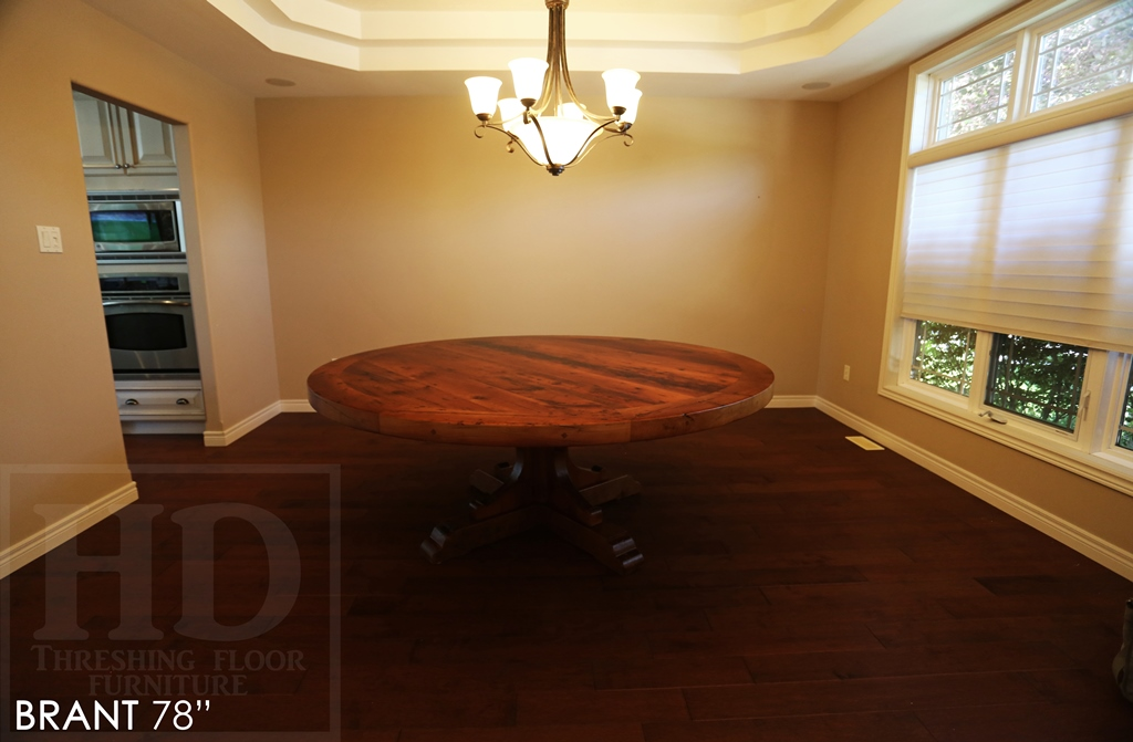 custom round table, reclaimed wood tables Ontario, round tables Ontario, Mennonite Furniture Brantford, reclaimed wood table Brantford, Ontariio, epoxy, recycled wood table, round table