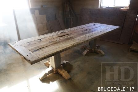 reclaimed wood pedestal table Rockwood, epoxy finish, barnwood furniture Ontario, rustic furniture, rustic farmhouse table, Fergus, Belwood, Rockwood, Gerald Reinink, recycled wood table