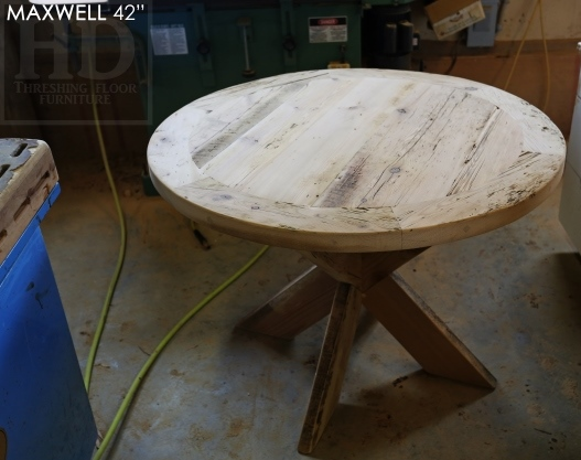 reclaimed wood round table, Kitchener, Ontario, X Base table, recycled wood furniture, recycled materials furniture, Mennonite Furniture, rustic furniture Canada, epoxy