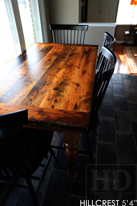 reclaimed wood table Simcoe, harvest table Simcoe, epoxy, recycled wood furniture, threshing floor table, mennonite furniture, cottage table, solid wood table