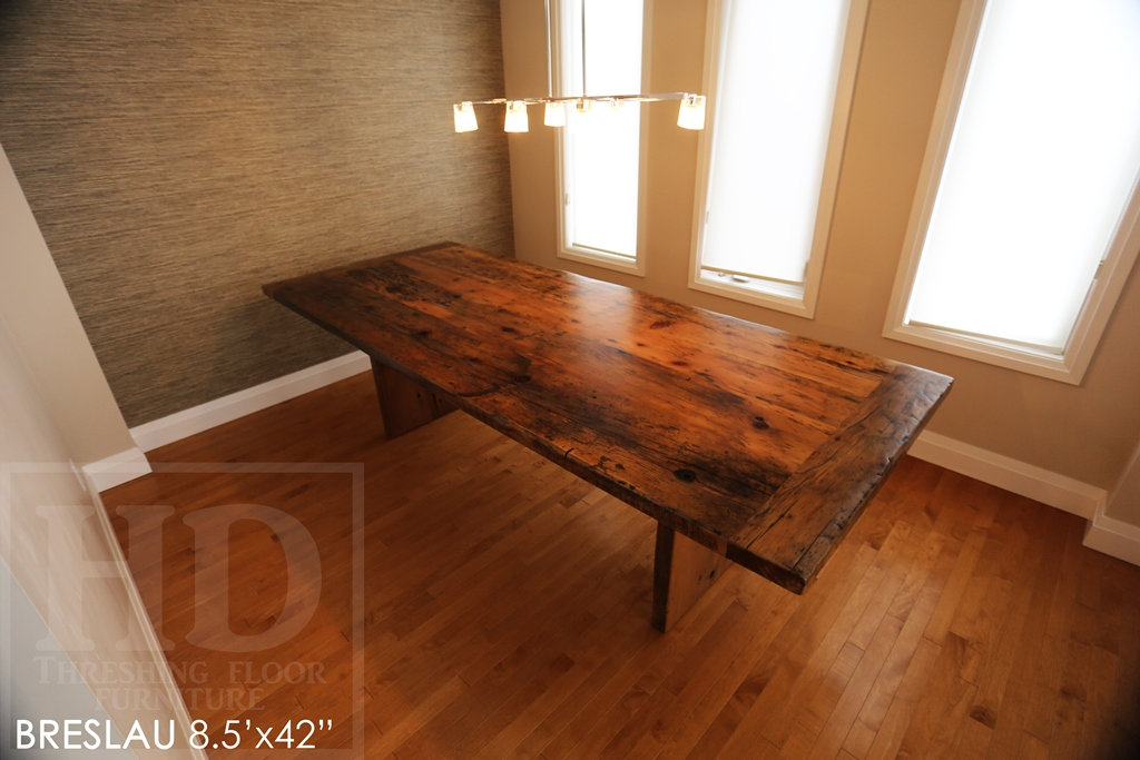 reclaimed wood tables Ontario, modern table, Gerald Reinink, epoxy, hemlock barnboard, rustic furniture Ontario, mennonite furniture Cambridge, solid wood furniture, recycled wood table, Breslau, reclaimed wood table Breslau