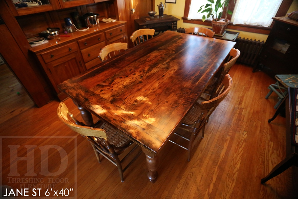 reclaimed wood tables Paris Ontario, custom tables Ontario, custom furniture, epoxy finish, hemlock threshing floor, harvest table, mennonite furniture, Cambridge, distressed wood furniture