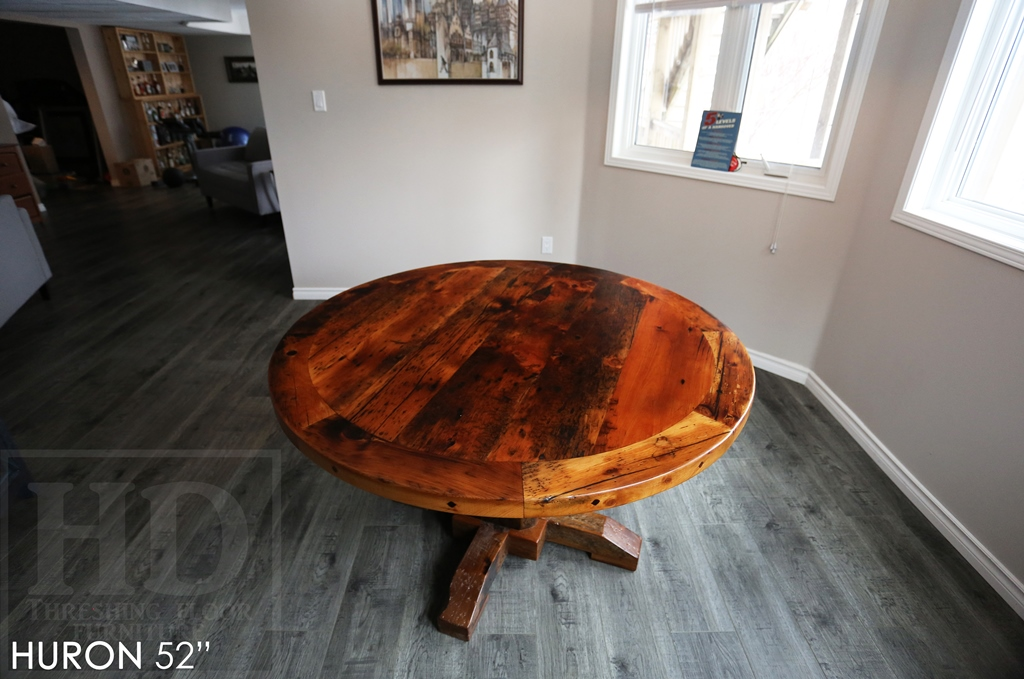 round table, reclaimed wood round table, Kitchener Ontario, round pedestal table, custom round table, mennonite furniture, solid wood furniture, epoxy