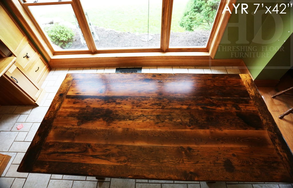 reclaimed wood table Ayr, Ontario, reclaimed wood tables Ontario, epoxy, threshing floor table, rustic table, old wood table, epoxy, Gerald Reinink