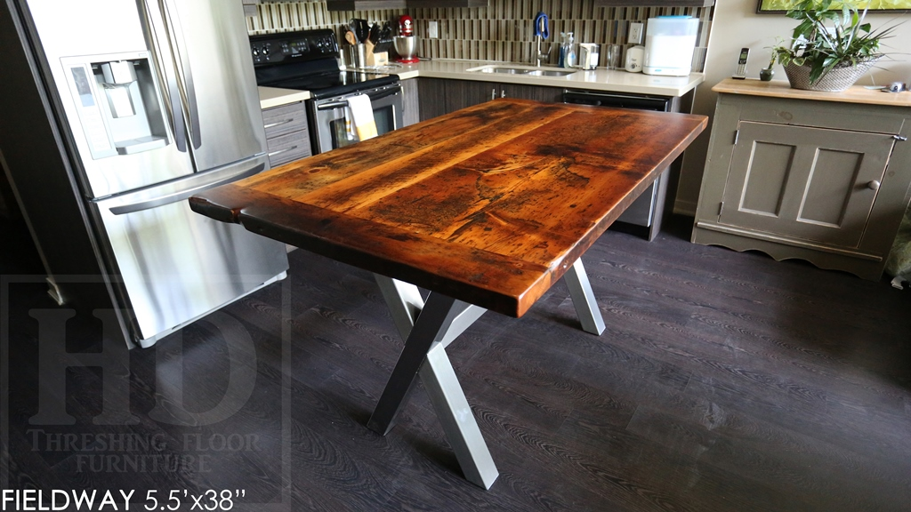 reclaimed wood tables Ontario, metal x base table, harvest tables Toronto, modern farmhouse, Gerald Reinink, distressed wood table
