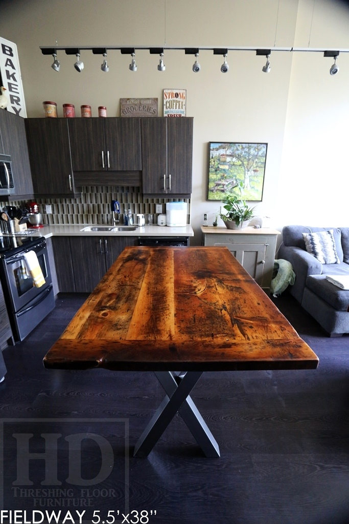 reclaimed wood tables Ontario, metal x base table, harvest tables Toronto, modern farmhouse, Gerald Reinink