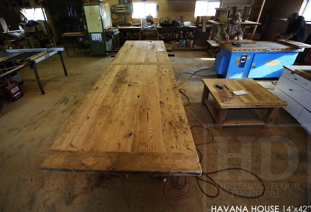 boardroom table Toronto, reclaimed wood tables Ontario, mennonite furniture, custom reclaimed wood table, epoxy, resin, conference table, cigar table, havana house, hemlock, barnwood table, solid wood furniture, commercial table